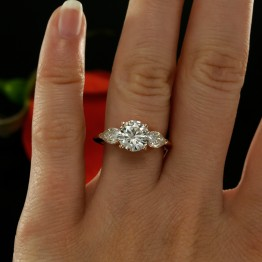 Three Stone Engagement Ring Mounting in 14K Rose Gold