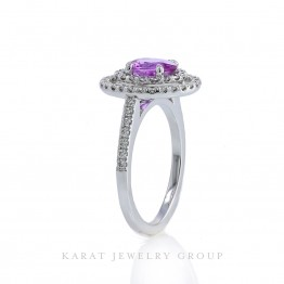 Natural Oval 1.11ct Pink Sapphire Double Halo Engagement Ring with Diamonds in 14K White Gold, September Birthstone