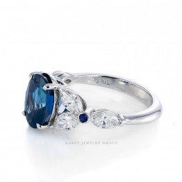 GIA Certified 3.78ct. Oval Blue Sapphire Diamond Ring