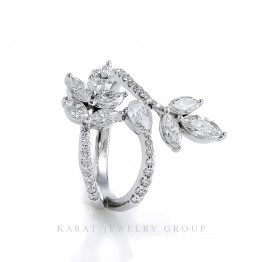 Floral Inspired Fashion Ring with Diamonds