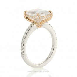 Hidden Halo Engagement Ring Mounting with Diamonds in 14K White and Rose Gold