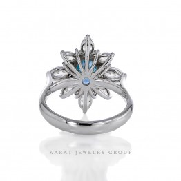 1.27ct. Oval Blue Diamond in Marquise Diamond Halo