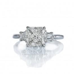 Lab created diamond ring, radiant cut diamond ring, trapezoid three stone ring, solitaire engagement ring, lab grown diamond ring, KR-6335