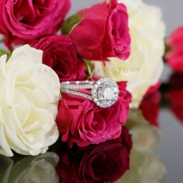 14K White Gold Halo Engagement Ring Mounting with Diamonds