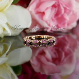 Pink Sapphire Wedding Band with Milgrain in 14K Rose Gold