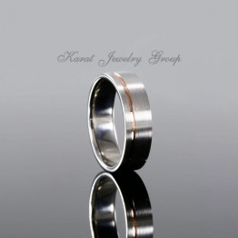 7mm Comfort Fit Two Tone Mens Wedding Band in 14k White and Rose Gold