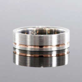 Mens Wedding Band In 14k White And Rose Gold 7mm