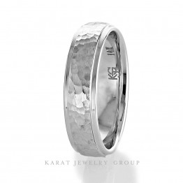 6mm Comfort Fit Mens Wedding Band with Hummer and High Polish Finishes in 14k White Gold