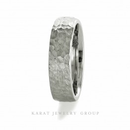 6mm Wide Mens Wedding Band with Satin Hammer Finish in 14k White Gold