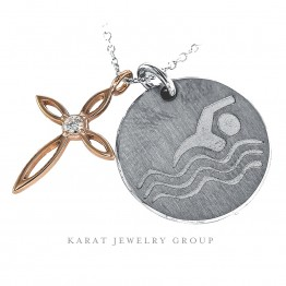 Laser Engraved Swimmer Pendant, Gold Cross Necklace