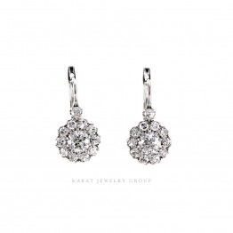 Old Mine and single cut Diamond Drop Cluster Earrings