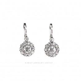 Old Mine and single cut Diamond Drop Cluster Earrings